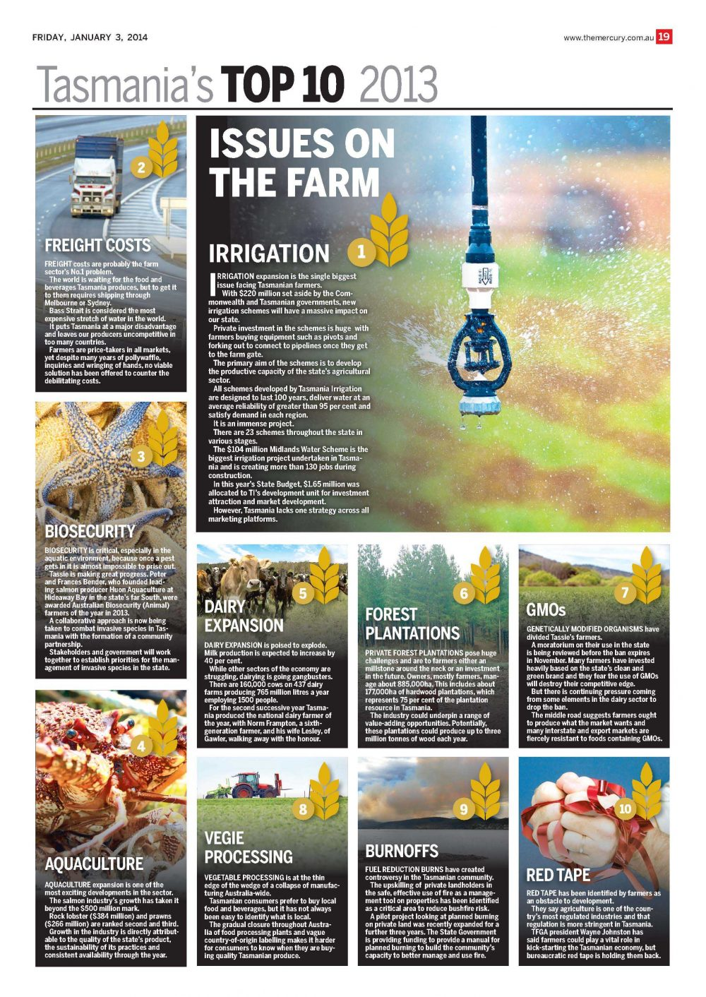 Tasmanias Top 10 The Mercury Jan 2013